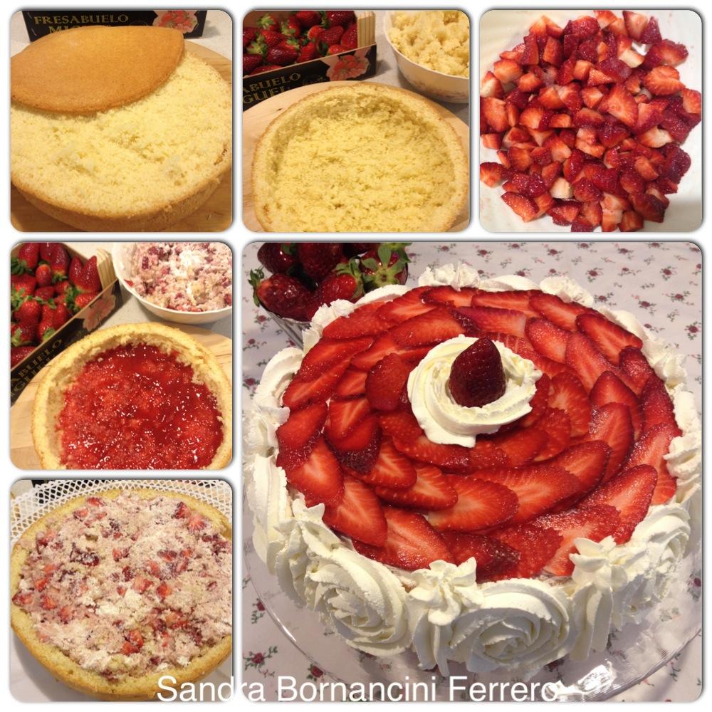 Bizcocho relleno de fresas y nata con Thermomix®