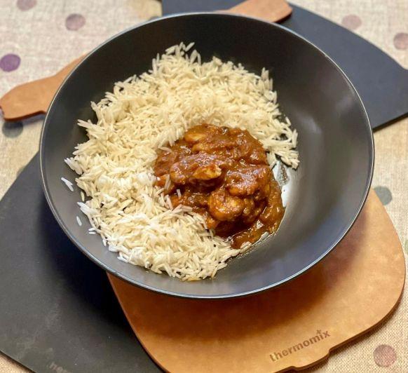 Curry de langostinos con arroz basmanti!!