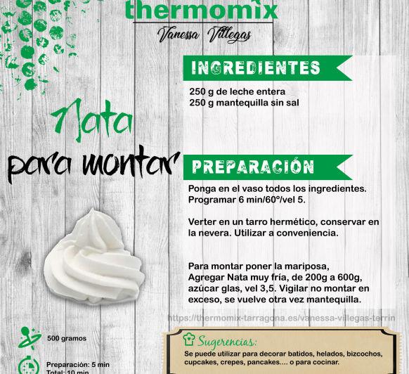 Receta Thermomix® - Nata montada casera - Recuperarla