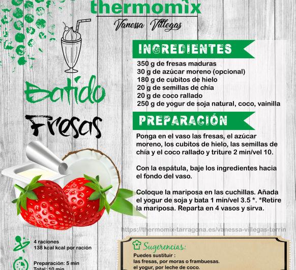 Receta Thermomix® - Smoothie Batidos - fresa, pera, plátano