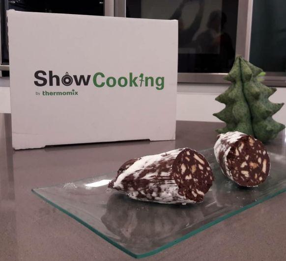 Salchichón de chocolate para los dulces de Navidad