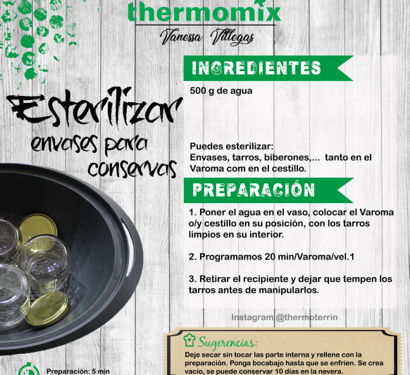 Thermomix® - Esterilizar envases, tarro, biberones - Realizar conservas - Salsas