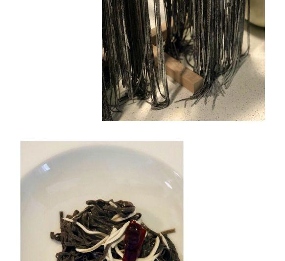 Espaguetis de tinta de calamar con gulas